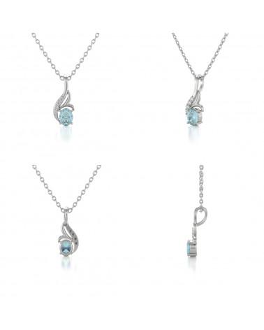 Collar Colgante Aguamarina y Diamantes Cadena Plata de Ley incluida ADEN - 2
