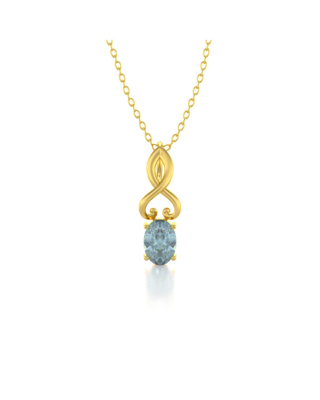 Collar Colgante de Oro 14K Aguamarina Cadena Oro incluida