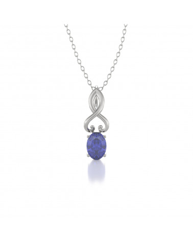 925 Silber Tanzanit Halsketten Anhanger Silberkette enthalten ADEN - 1
