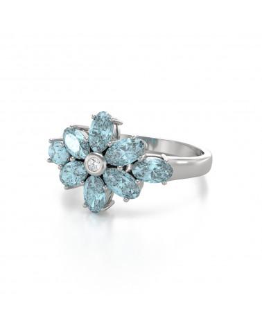 Anelli Acquamarina diamanti Argento 925 ADEN - 4