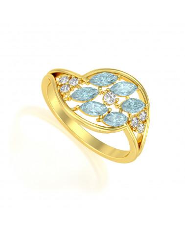 Anillo de Oro Esmeraldas y diamantes 1.32grs ADEN - 1