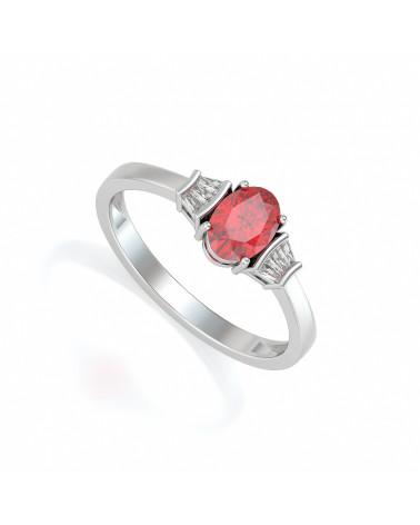 Anillo Rubi y diamantes Plata de Ley 925 ADEN - 1