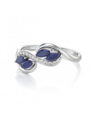 Anelli Zaffiro diamanti Argento 925 ADEN - 4