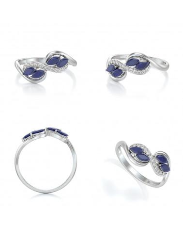Anelli Zaffiro diamanti Argento 925 ADEN - 2