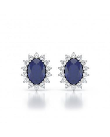 925 Silber Saphir Diamanten Ohrringe ADEN - 1