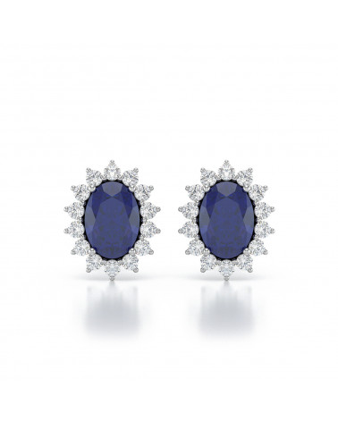 Orecchini in Zaffiro Diamanti Argento 925 ADEN - 1