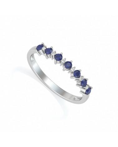 Anillo Zafiro y diamantes Plata de Ley 925 ADEN - 1