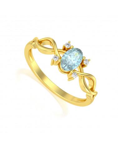 Anelli Oro Acquamarina diamanti ADEN - 1