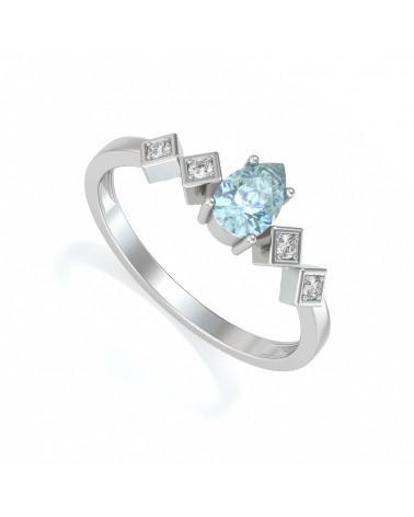 Anillo de Oro Aguamarina y diamantes 1.296grs ADEN - 1
