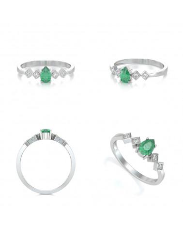 Anelli Oro Smeraldo diamanti 1.296grs ADEN - 2