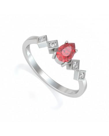 Anillo de Oro Rubi y diamantes 1.296grs ADEN - 1