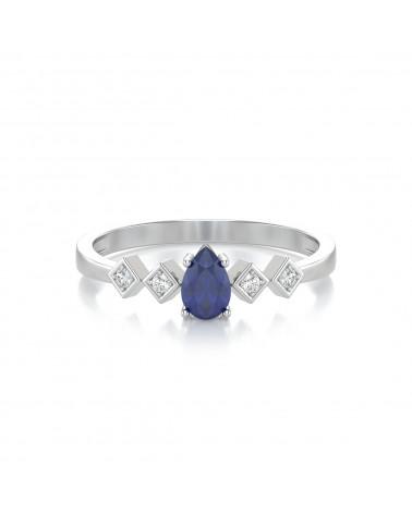 Anelli Zaffiro diamanti Argento 925 ADEN - 3