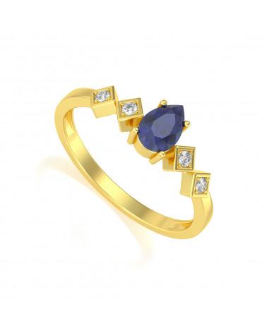 Anillo de Oro Zafiro y diamantes 1.296grs ADEN - 1