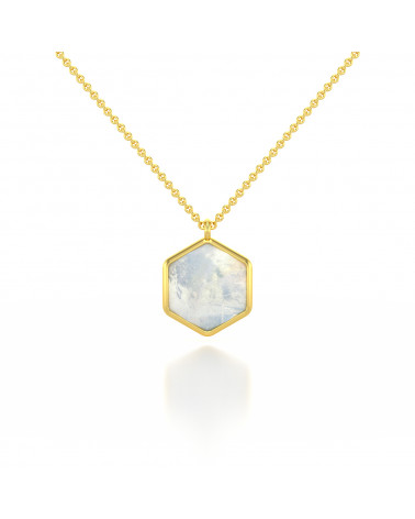 Collar amazonita Facetada Forma Redonda Chapado en Oro ADEN - 1