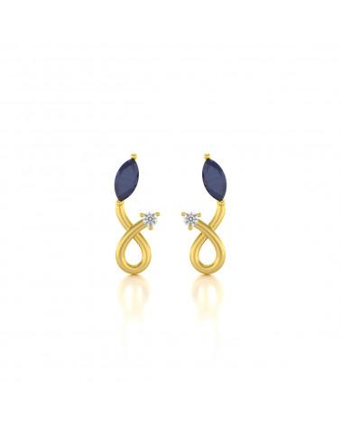 Pendientes de Oro Zafiro y Diamantes ADEN - 1