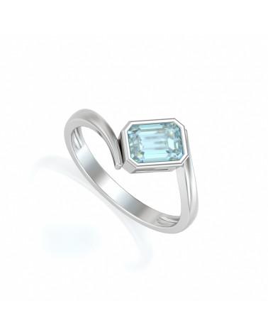 925 Silber Aquamarin Ringe ADEN - 1