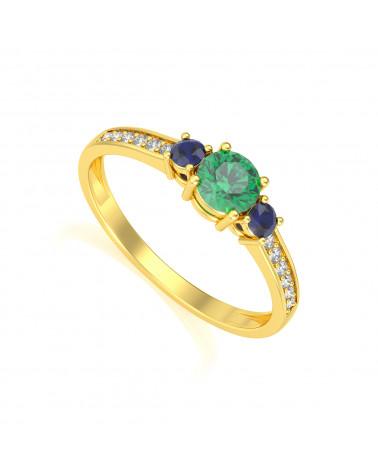 Anillo de Oro Esmeralda y diamantes ADEN - 1