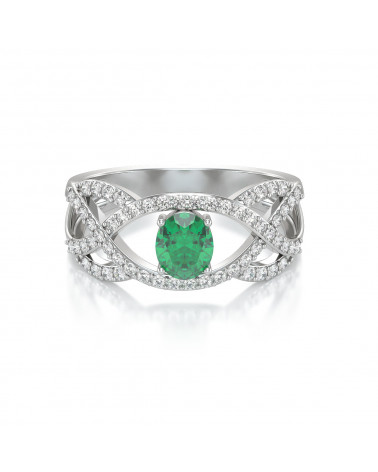 Anelli Oro Smeraldo diamanti ADEN - 3