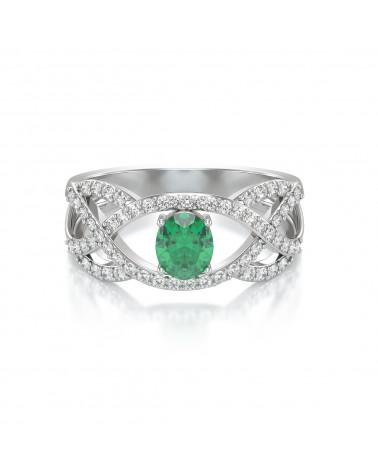 Anillo de Oro Esmeralda y diamantes ADEN - 3