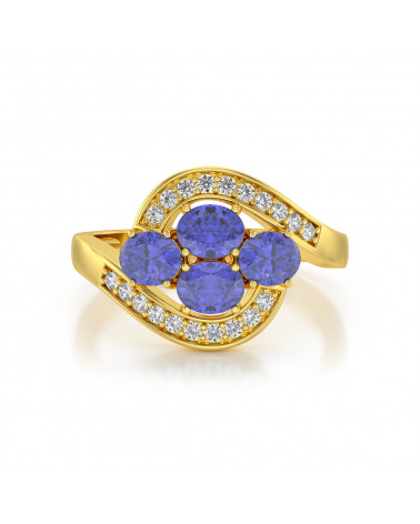Anillo de Oro Tanzanita y diamantes ADEN - 3