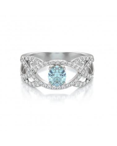 Anelli Acquamarina diamanti Argento 925 ADEN - 3