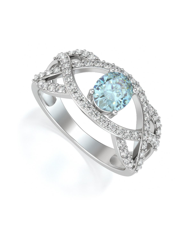 Anelli Acquamarina diamanti Argento 925