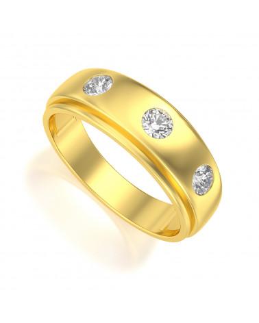 Anillo Biker Ónix Diamantes Oro ADEN - 1