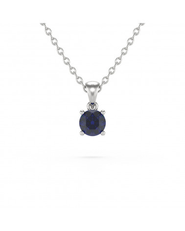 925 Silver Sapphire Necklace Pendant Chain included ADEN - 1