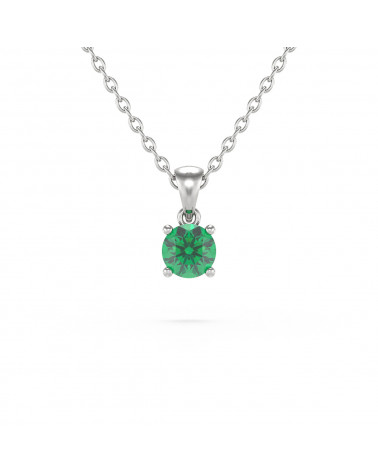 Colgante Pendente Smeraldo Catena Argento inclusa ADEN - 1