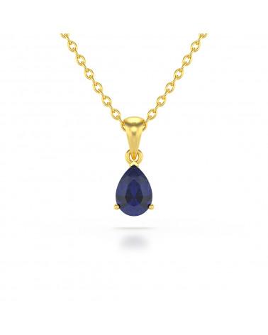 14K Gold Saphir Halsketten Anhanger Goldkette enthalten ADEN - 1