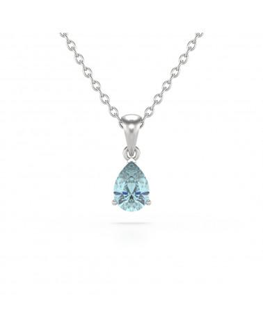 925 Silber Aquamarin Halsketten Anhanger Silberkette enthalten ADEN - 1