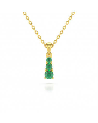 14K Gold Emerald Necklace Pendant Gold Chain included ADEN - 1