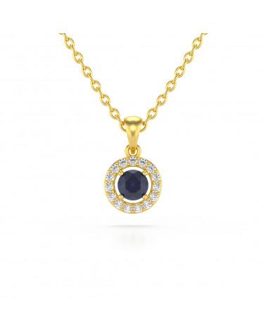 Collar Colgante de Oro 14K Zafiro y Diamantes Cadena Oro incluida ADEN - 1