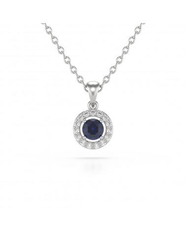 14K Gold Saphir Diamanten Halsketten Anhanger Goldkette enthalten ADEN - 1