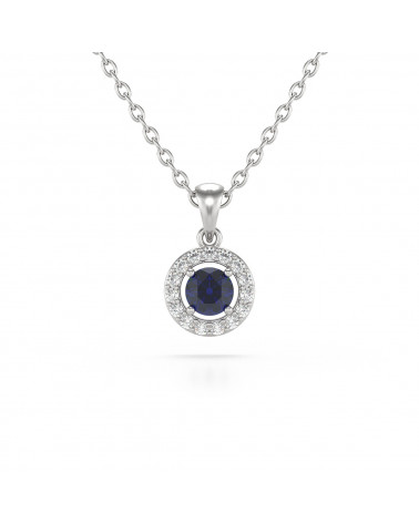 14K Gold Sapphire Diamonds Necklace Pendant Gold Chain included ADEN - 1
