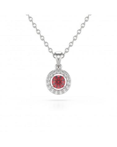 14K Gold Rubin Diamanten Halsketten Anhanger Goldkette enthalten ADEN - 1