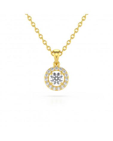 Colgante Pendente in Oro 14K Acquamarina Diamanti Catena Oro inclusa ADEN - 1
