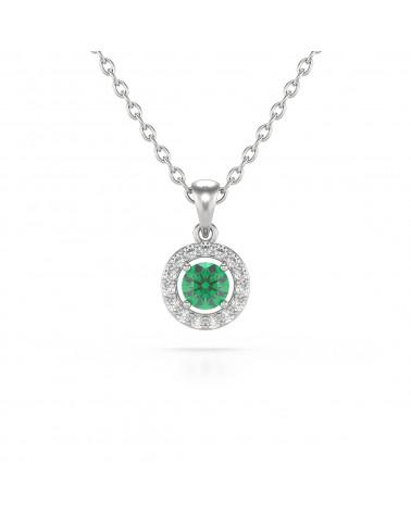 Colgante Pendente Smeraldo Diamanti Catena Argento inclusa ADEN - 1