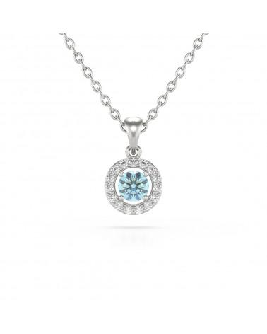 925 Silber Aquamarin Diamanten Halsketten Anhanger Silberkette enthalten ADEN - 1