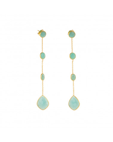 Gold Plated 925 Sterling Silver Amazonite Earrings ADEN - 1